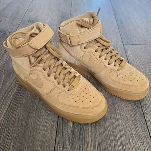 Nike Air Force 1 Hightop Suede Tan Flax